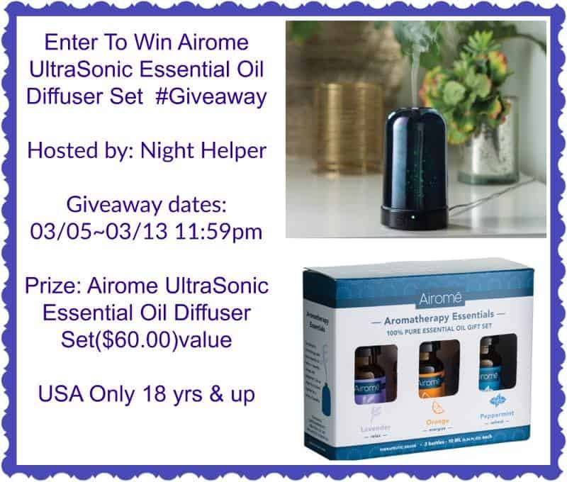#Giveaway: Airome Ultrasonic Essential Oil Diffuser Set