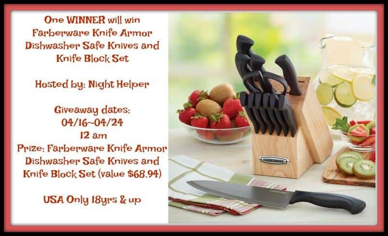 Giveaway: Farberware Knife Armor Dishwasher Safe Knives and Knife Block Set