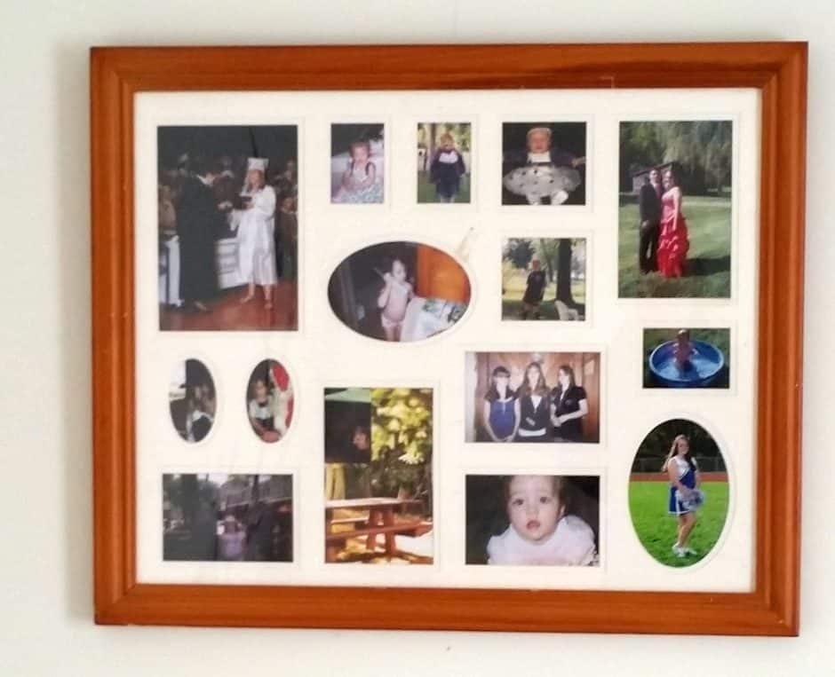 upcycle a photo collage frame: old and outdated brown collage picture frame ready to be upcycled