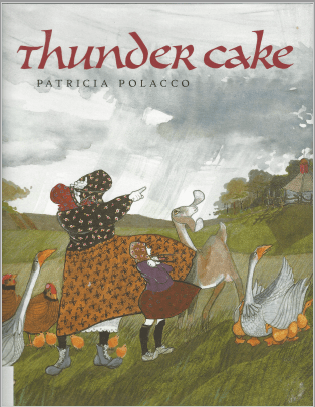 Scan of Thunder Cake by Patricia Polocco book jacket cover