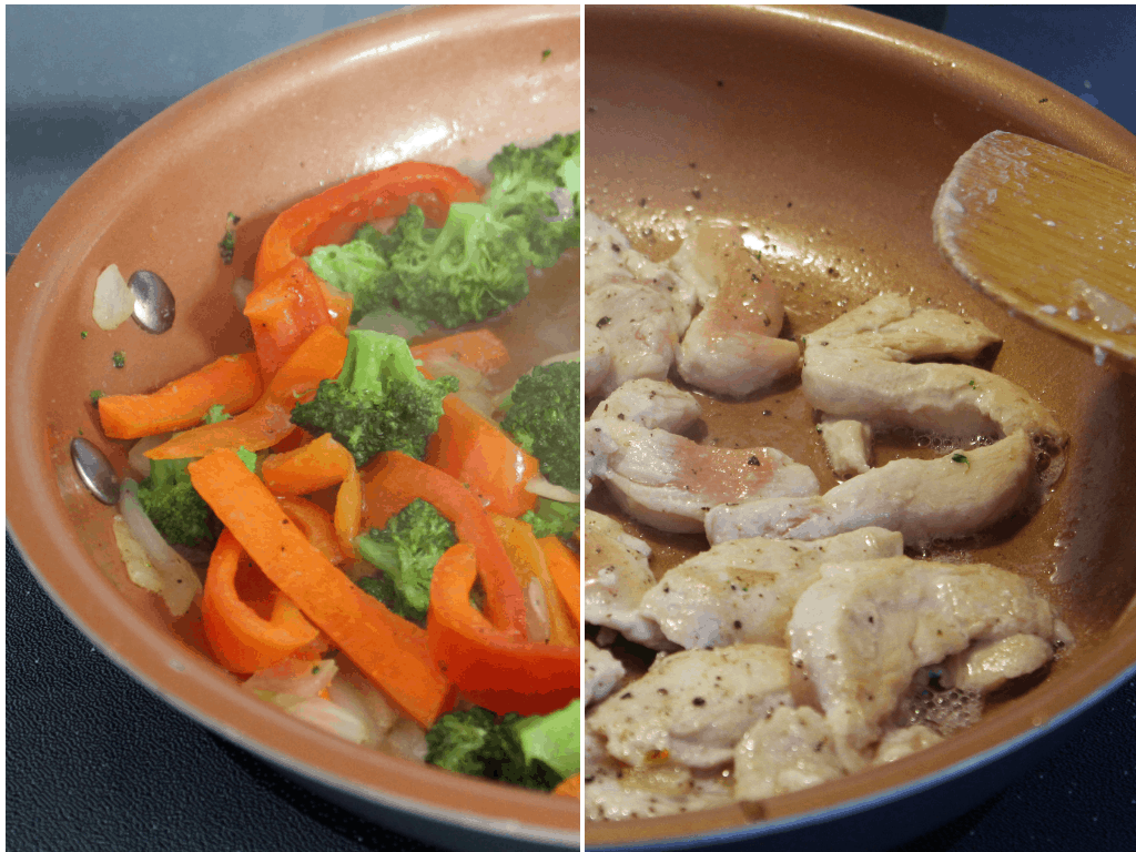 Chicken and Veggies Cooking Hot and Sour Stir Fry Sun Basket Review